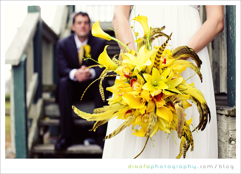 Yellow Bouquet Feathers little mellow yellow wedding | chrissy+kevin